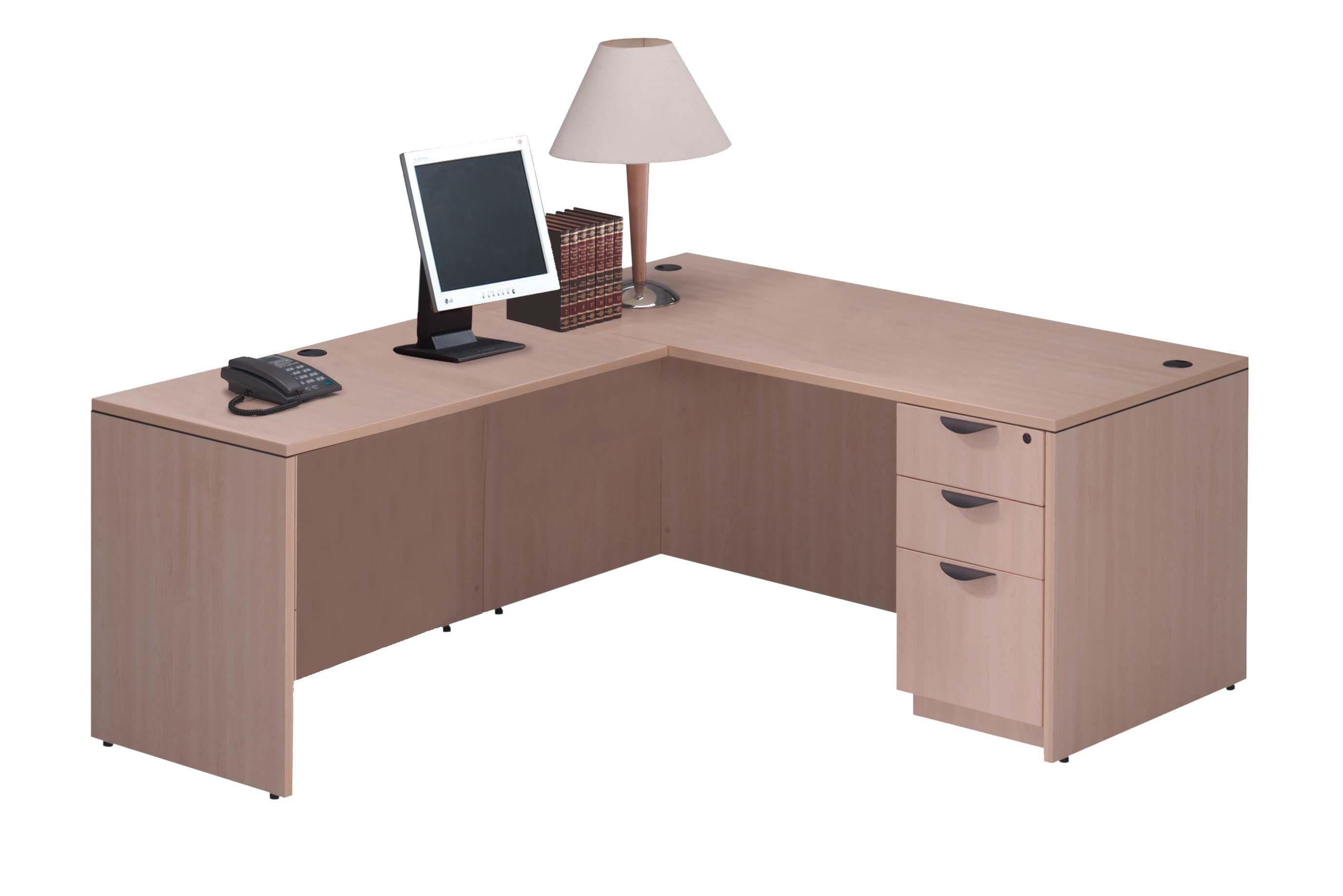 Furniture Box Maple Laminate L Shaped Desk With Box Box File Pedestal Color