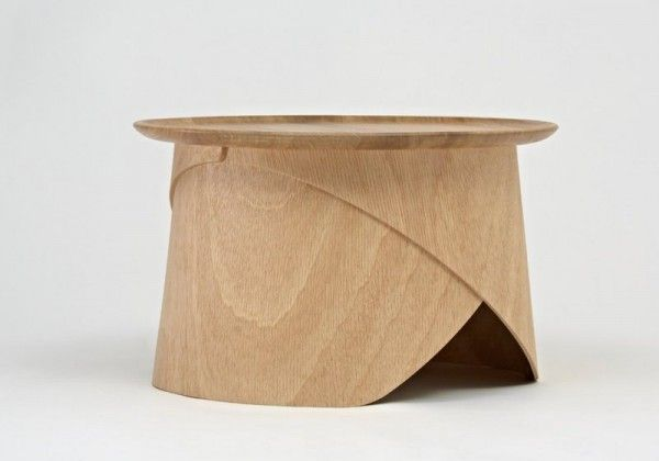 Side View Of Simple Wooden Coffee Table With Legs Made Of Bent Plywood Wooden Coffee Table Unique Table Design Simple Coffee Table
