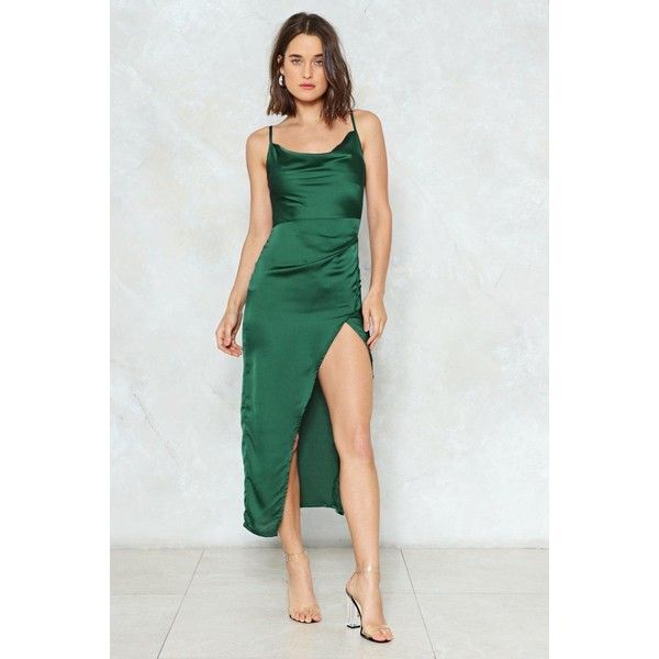 3498540cb5 Nasty Gal Satin Cowl Mini Dress ($60) ❤ liked on Polyvore featuring dresses,  dark green, midi cocktail dress, calf length dresses, satin cowl neck dress,  ...
