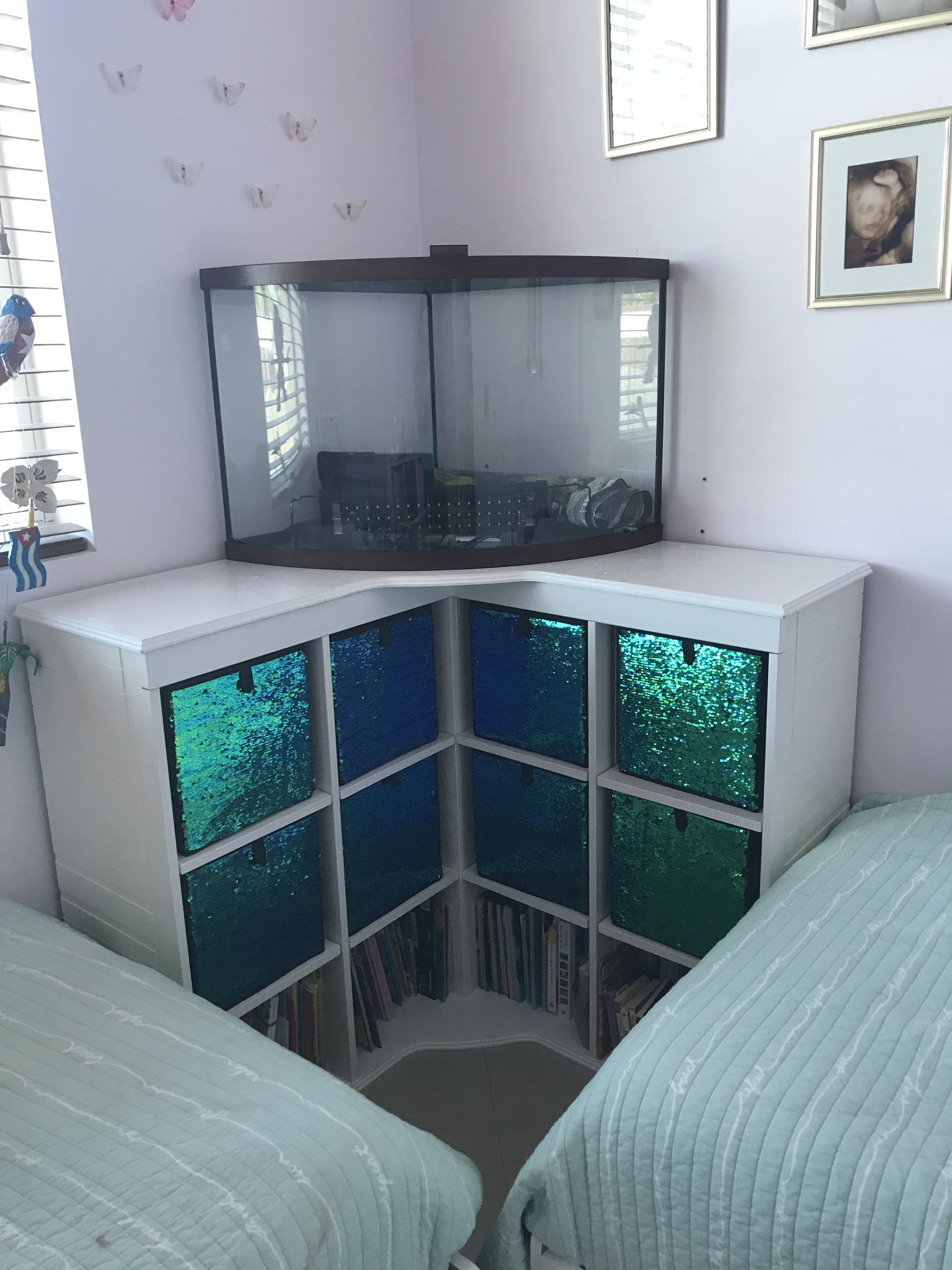 corner fish tank stand and cubby holder for mermaid themed