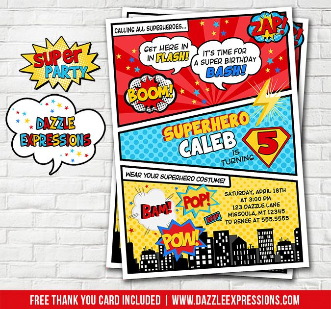 Free Superhero Invitation Templates Invitation Templates Visit - Free birthday invitation templates superhero