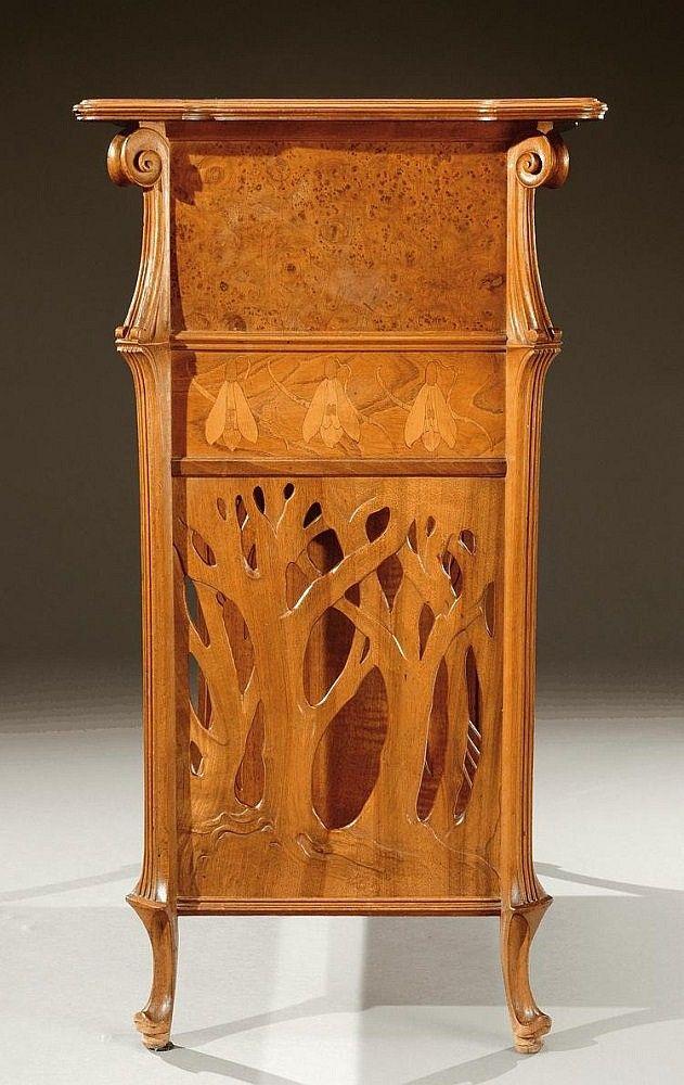 Emile Galle 1846 1904 Nancy Mahogany Table With Fruit Wood Inlays Meubles Art Nouveau Meubles Art Deco Art Nouveau