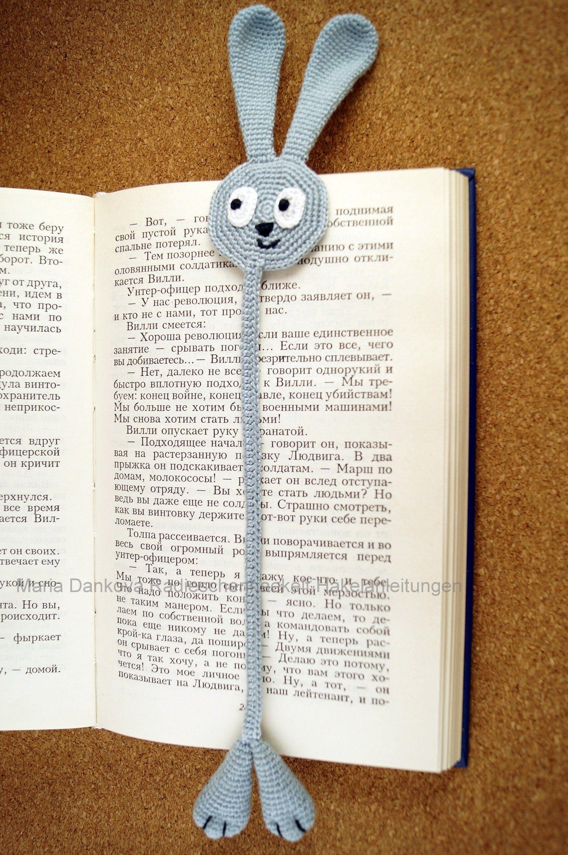 Lesezeichen Lesehase Häkelanleitung | crochet and kniting | Pinterest