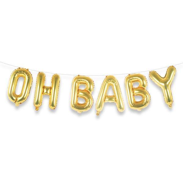 Oh Baby 16 Gold Foil Letter Balloon Banner Kit Letter Balloons Balloon Banner Balloons