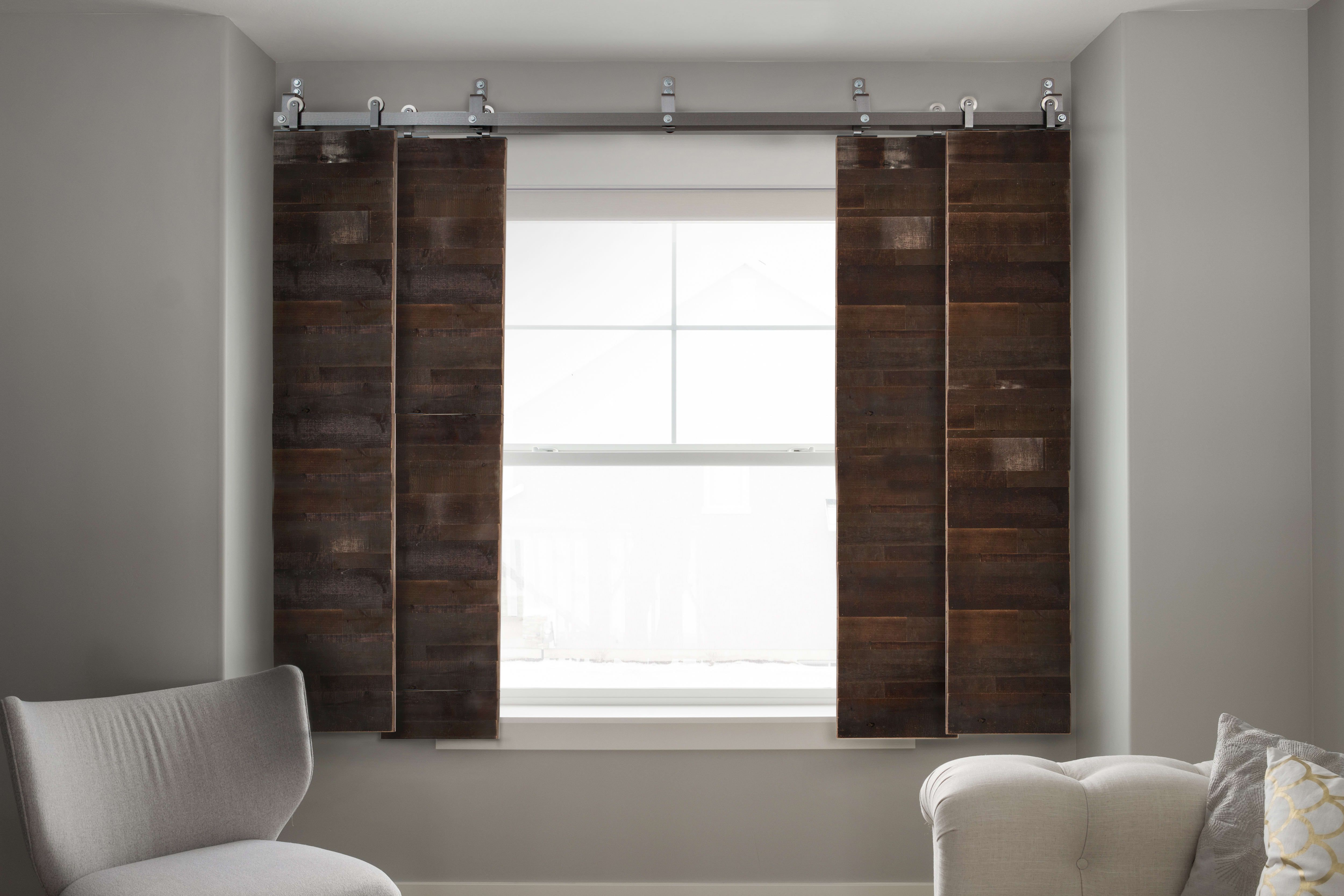 Fully customizable solid wood barn door shutters create a - Interior sliding barn doors with windows ...
