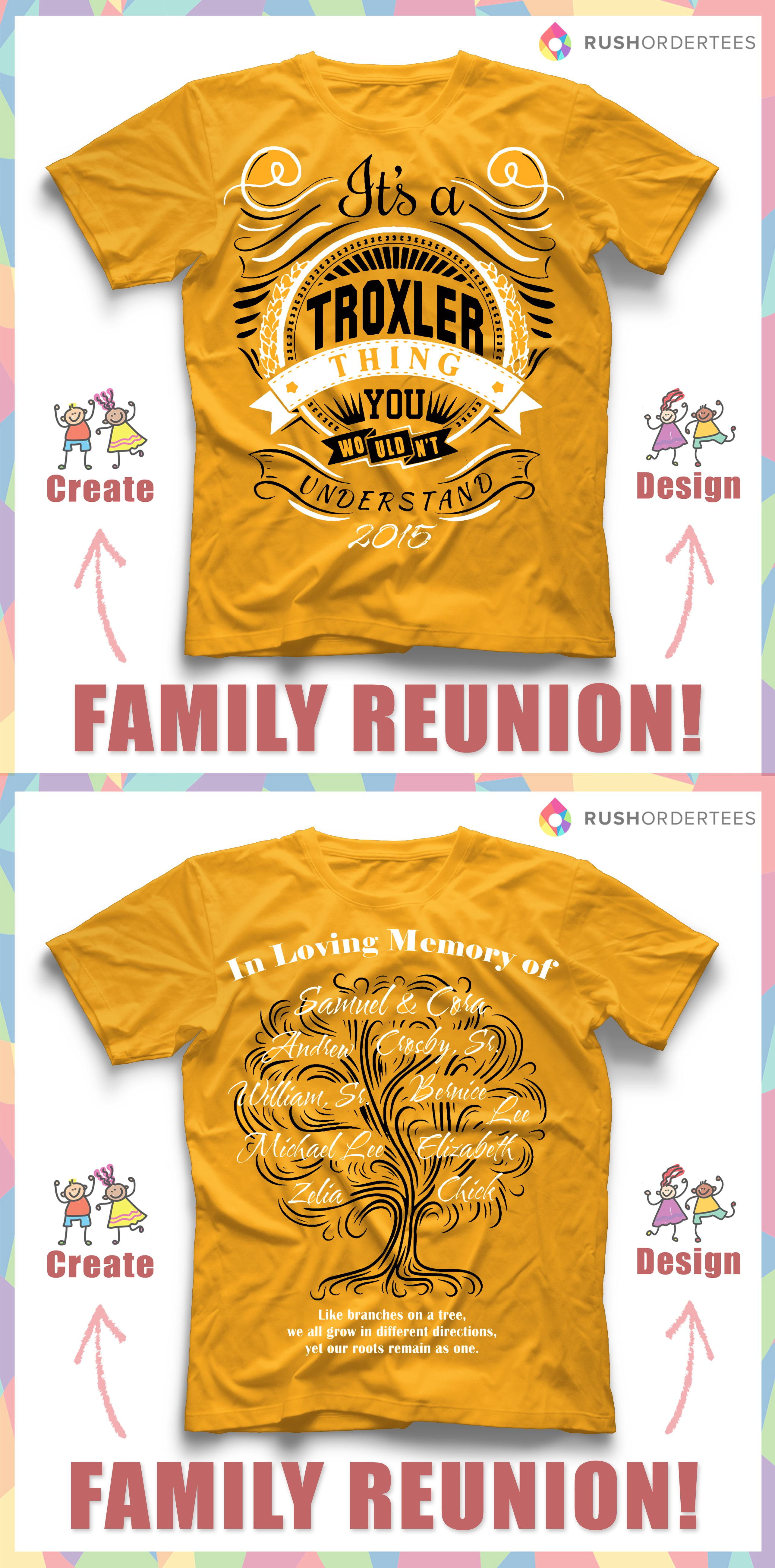 61e686f220 Family Reunion custom t-shirt design idea! Create an awesome custom design  for your next family reunion! www.rushordertees.com #familyreunion