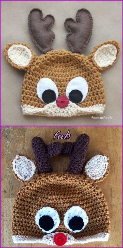 Crochet Reindeer Hat Free Patterns | Haube häkeln, Hauben und Häkeln