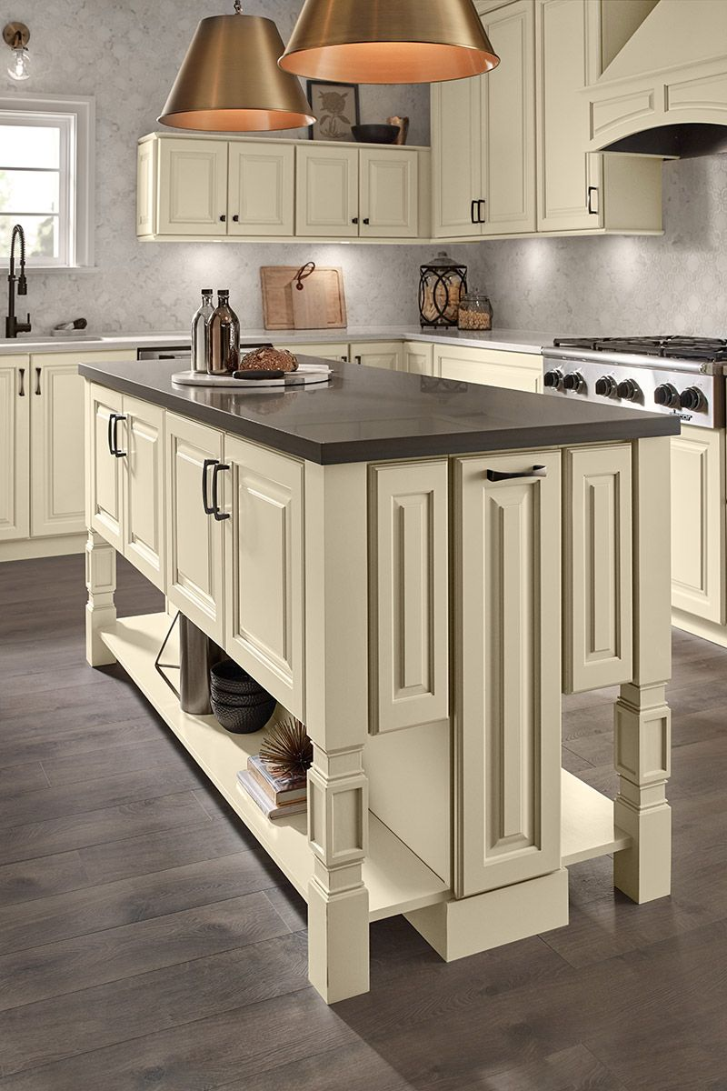 Kitchen island with furniture details—Parker Furniture Leg. Cabinet ...