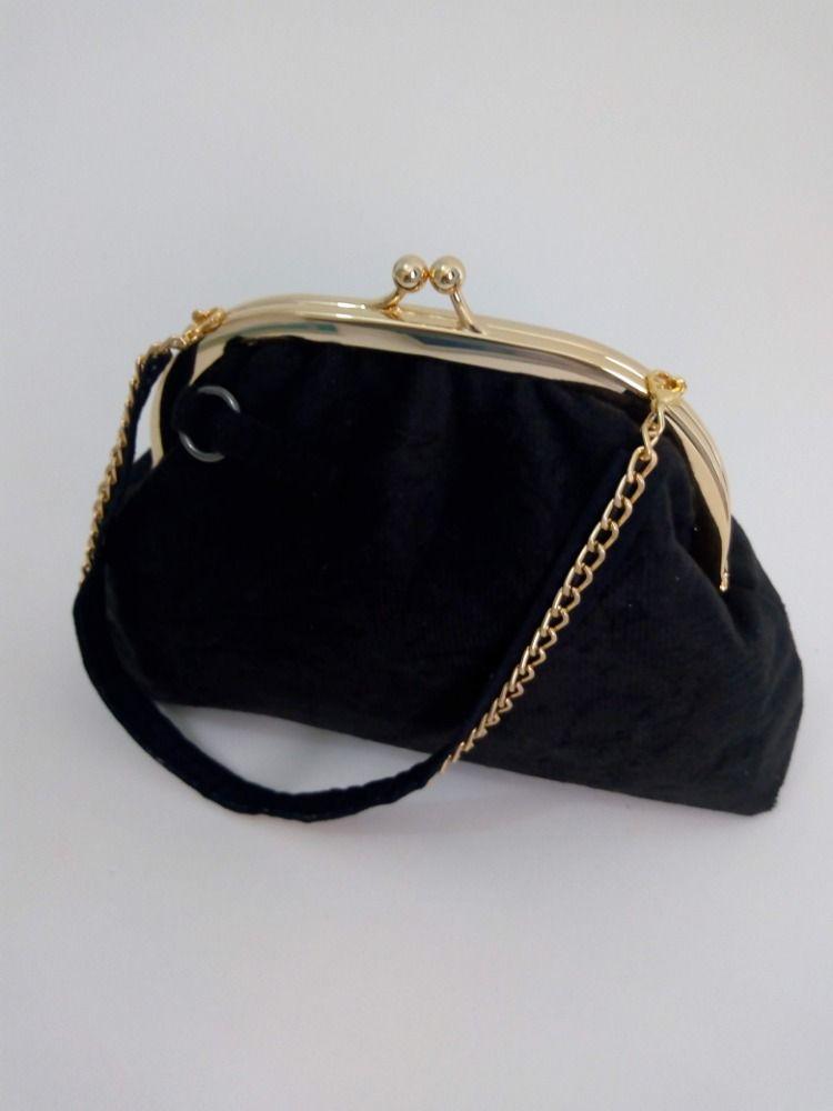 5815d661b Bolsa Clutch Fecho Vovó em Veludo e Dourado | bolsas | Coin Purse ...
