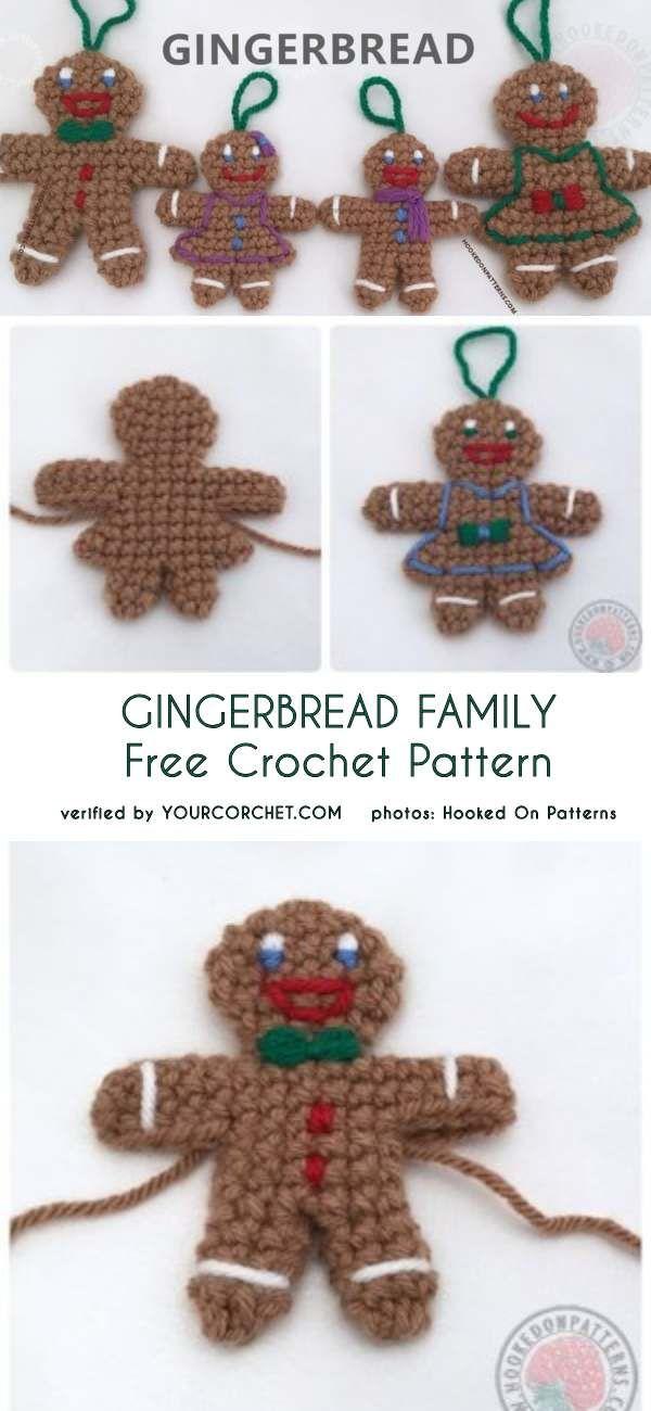 Gingerbread Family Free Crochet Pattern   tejido navidad   Pinterest ...