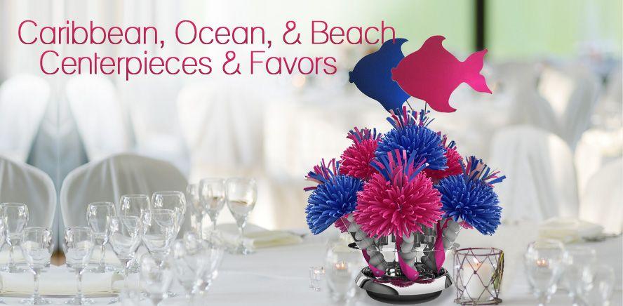 Caribbean Ocean And Beach Theme Centerpieces Wedding By Wanderfuls Casino Themed