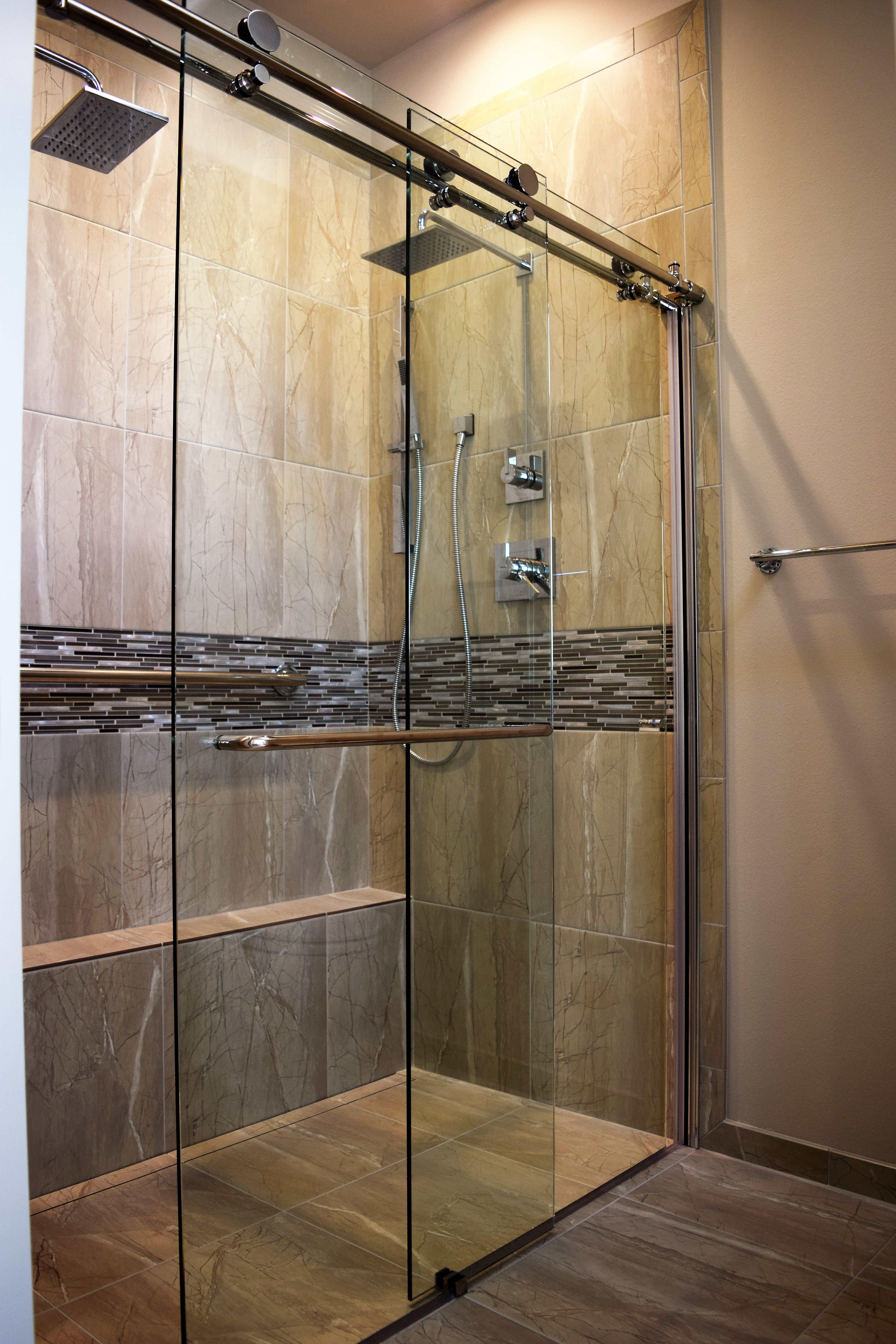 Curbless tile shower with dual rain heads. Much nicer than the ...
