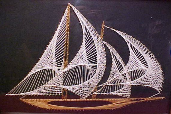 vintage nautical string art sailing ship 1970 39 s model. Black Bedroom Furniture Sets. Home Design Ideas