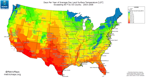 Us Surface Temperature Map Count of Days Per Year of Average Land Surface   Maps on the