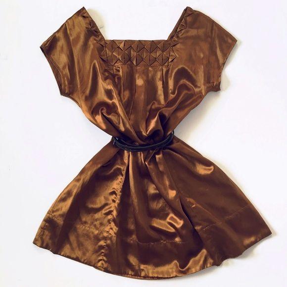 TOPSHOP Bronze Silk Shift Dress Size 10, Euro 38. Can Fit