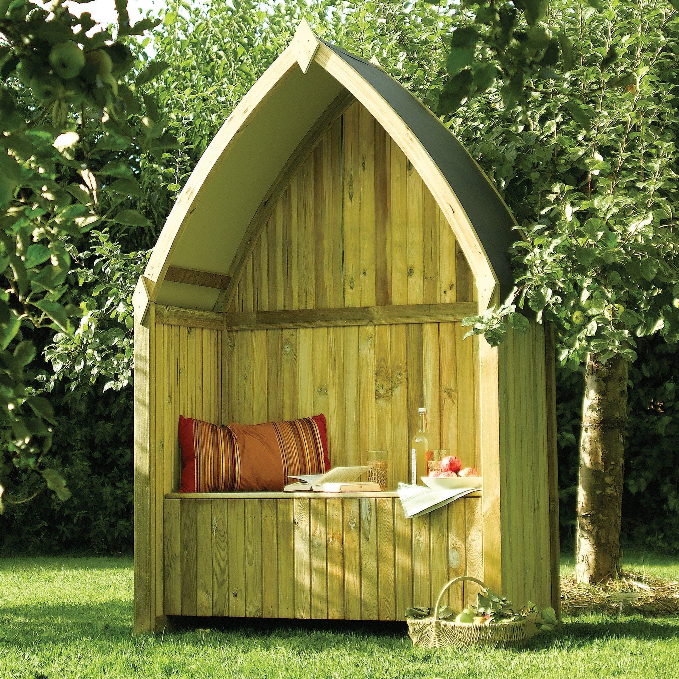 Zest 4 Leisure Cheltenham Arbour Wooden Garden Seat /& Storage Box Trellis Back