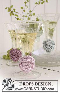 """Fiore DROPS all'uncinetto per decorare il bicchiere in """"Cotton Viscose"""". ~ DROPS Design"""