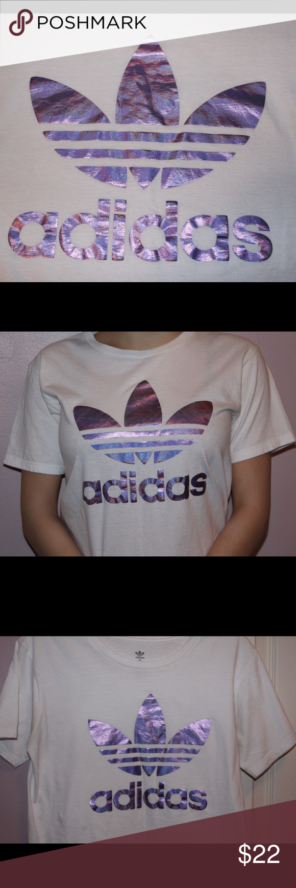 Adidas Originals Tee Shirt Only wore this about 1-2 times. In good condition, almost like new. Please contact me with questions or if you're interested. 👾💜 Adidas Tops Tees - Short Sleeve