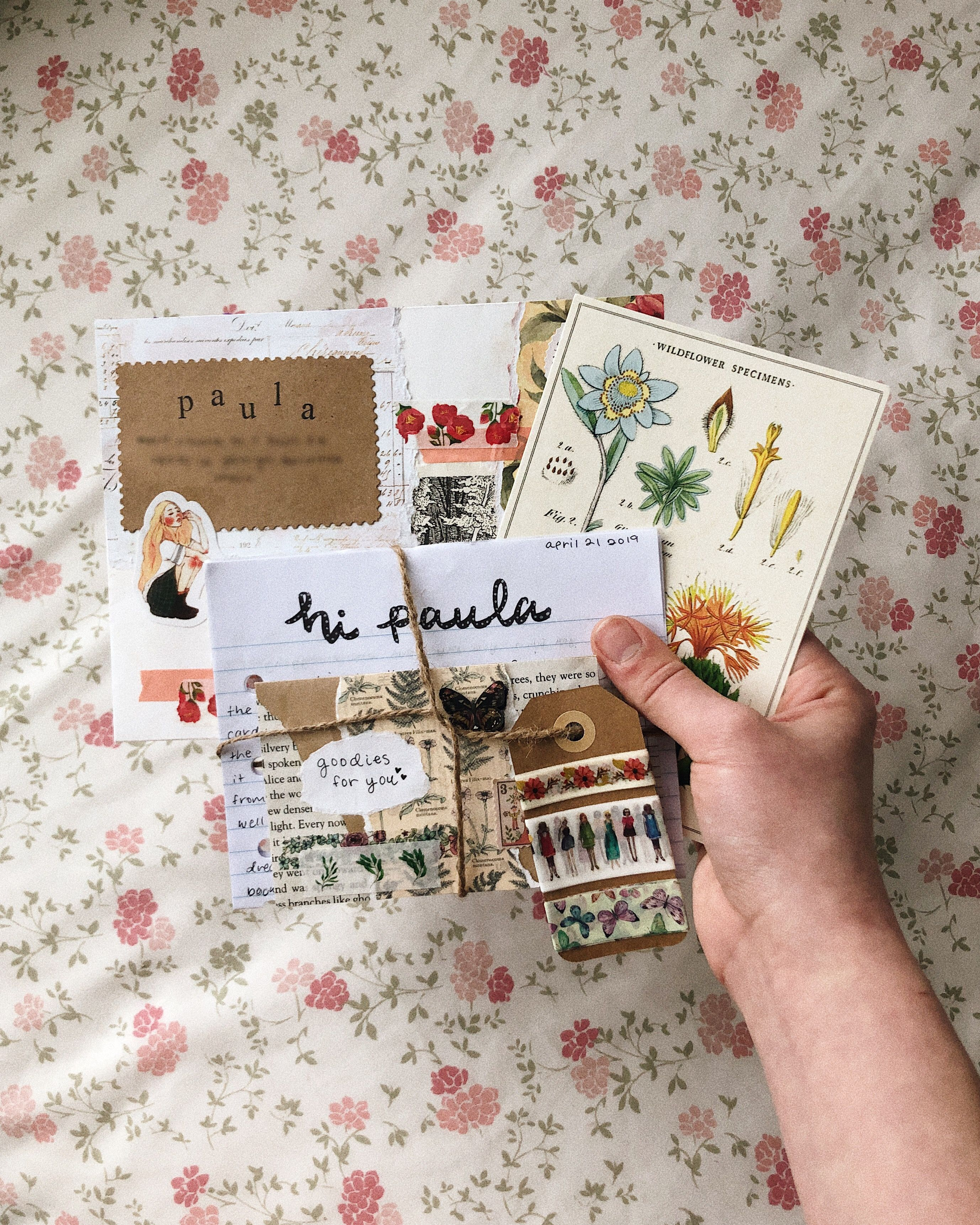 Happy Mail Mini Book for Pen Pal Junk Journal,Scrapbook Mixed Media Collage Paper Ephemera Ephemera Snail Mail Mini Album and Envelope