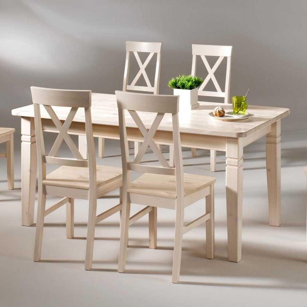 Massivholztisch in Weiß Kiefer Massivholz holztisch