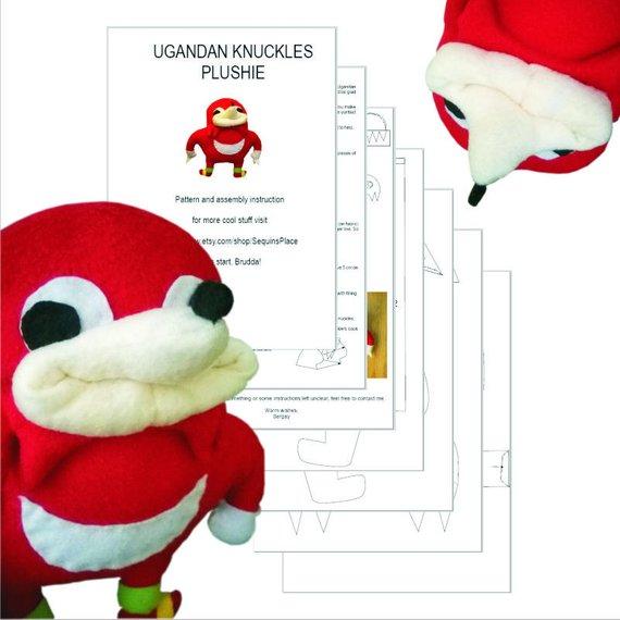PDF DIY sewing pattern for Ugandan Knuckles handmade plush