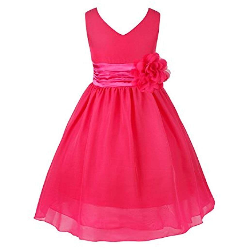 15e7b70a6e2e5 TiaoBug Enfant Fille Robe Princesse Soirée Cérémonie Robe Demoiselle  dhonneur Mariage Robe Mariee Robe Ceinture à
