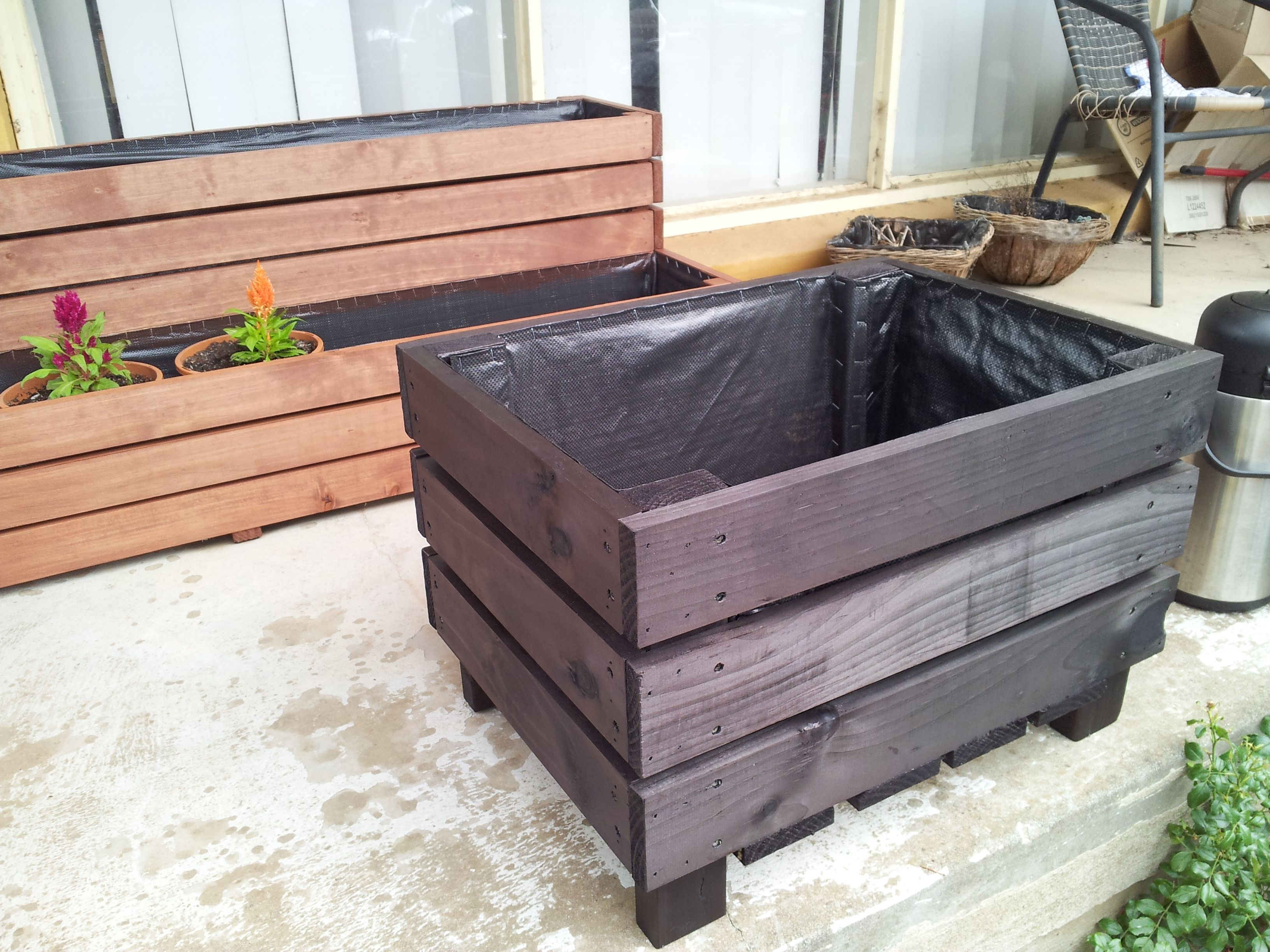 Tree Planter Box, Stained In Black