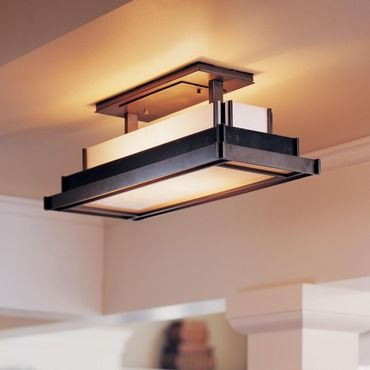 Steppe Rectangle Semi Flush Ceiling Mount Hubbardton Forge At Lightology