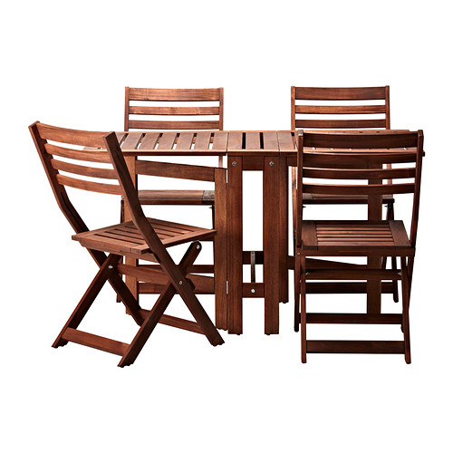 Applaro Table And 4 Folding Chairs Outdoor Brown Stained Brown