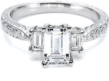 Tacori Three Stone Emerald Cut Engagement Ring : Two emerald cut side stones  are featured in