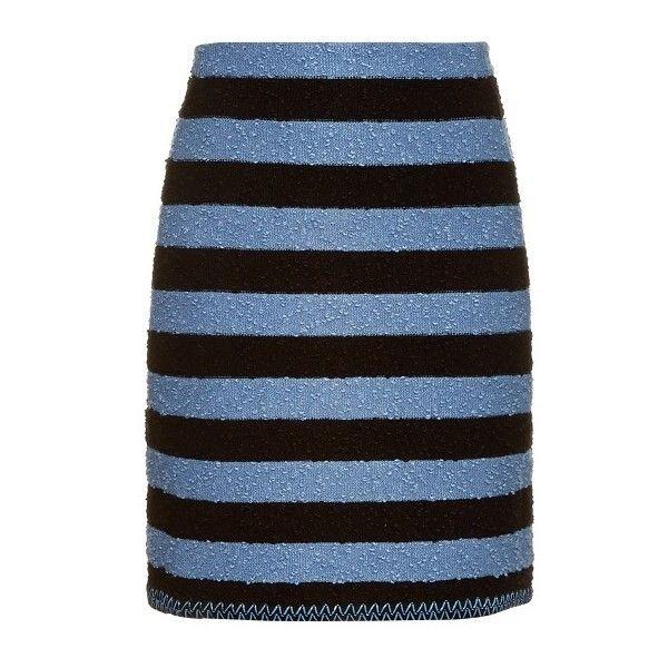 Sonia Rykiel Stretch-bouclé striped skirt ($323) ❤ liked on Polyvore featuring skirts, stripe skirt, stretch skirts, boucle skirts, stretchy skirt and blue stripe skirt