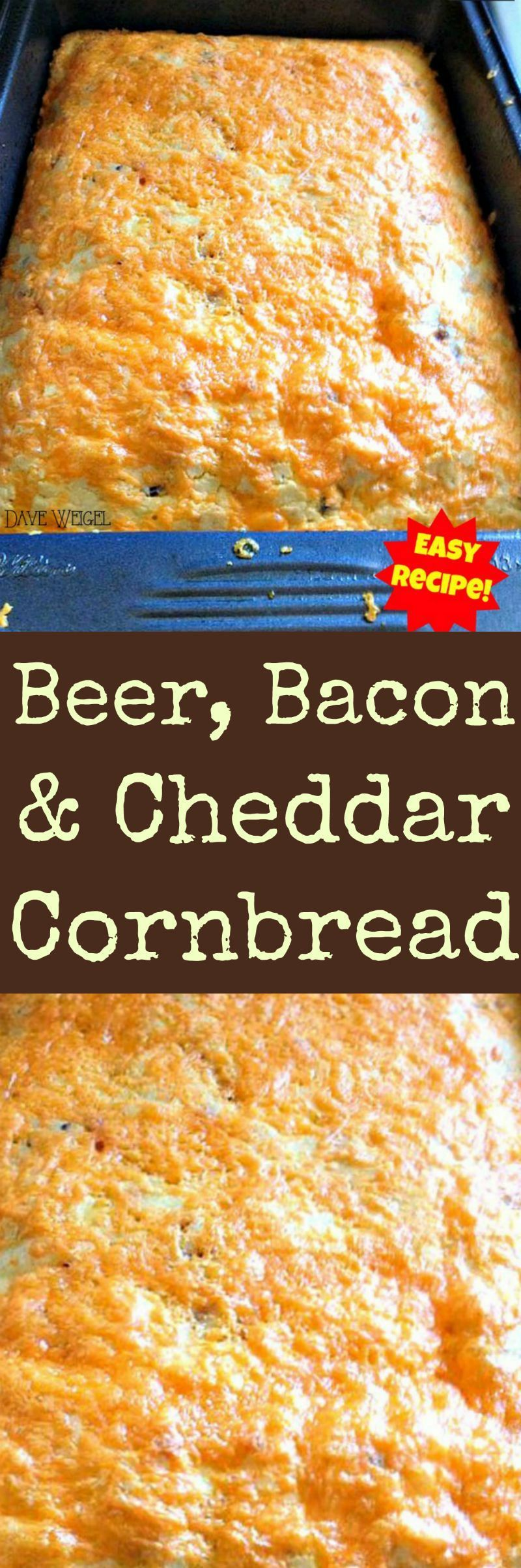 Beer, Bacon and Cheddar Cornbread An easy recipe with a great flavour combination. Goes well with soups, chili, stews or simply on it's own!