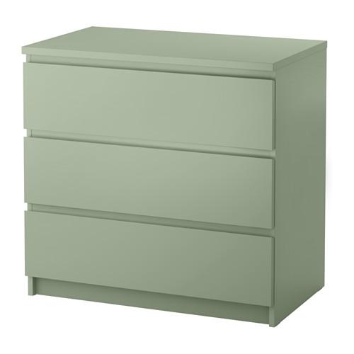 Ikea Malm Kommode Mit 3 Schubladen Hellgrun Leichtgangige