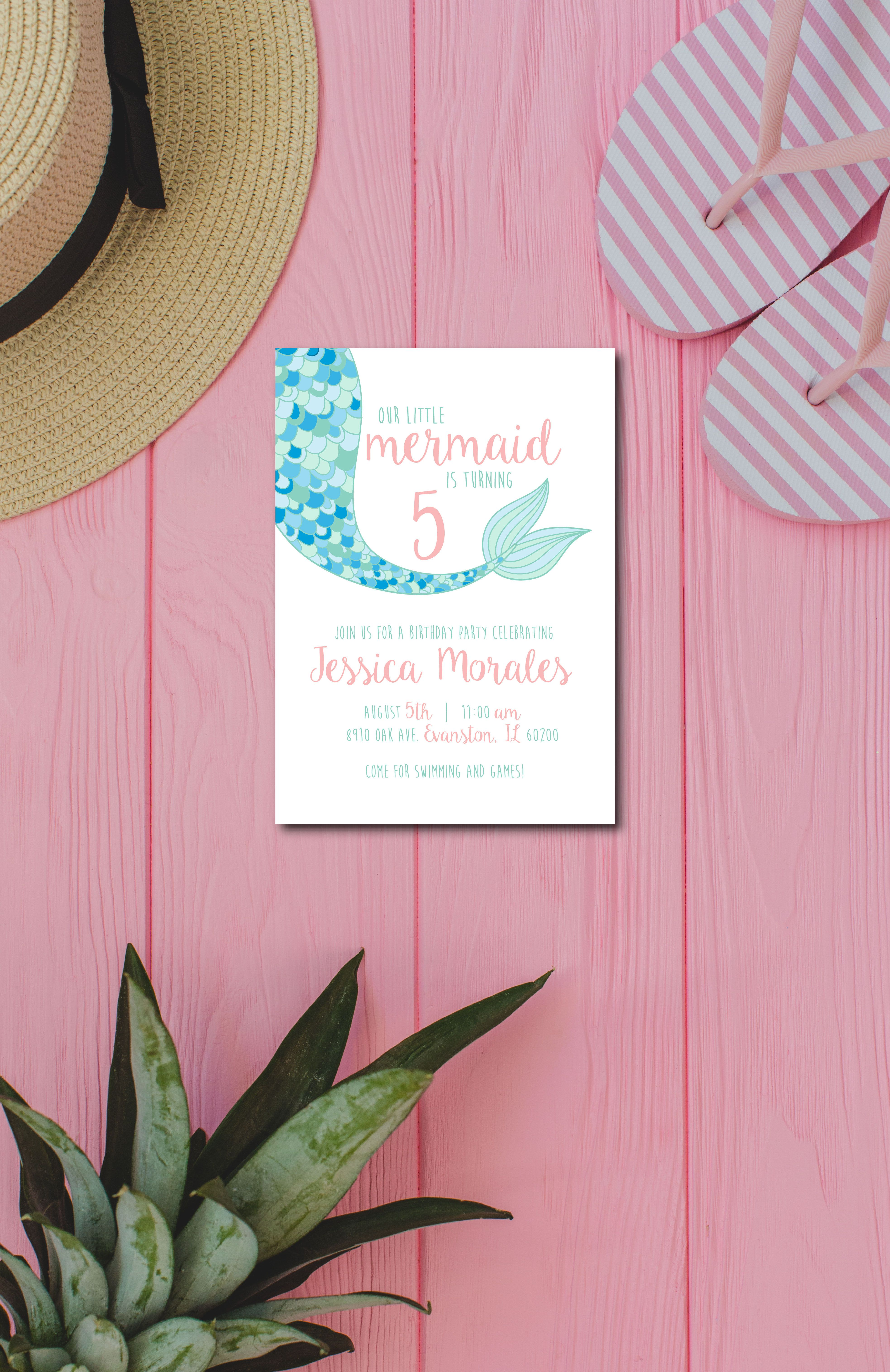 Cute Mermaid Birthday Party Invitation Perfect For A Summer Birthday Light