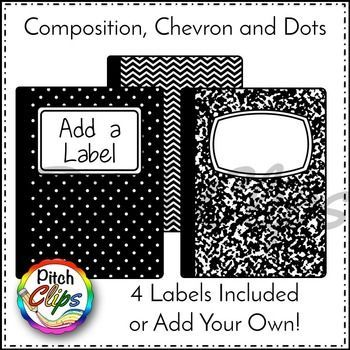 High Quality Composition Notebook Clipart Is Here For You! You Will Not Want To Miss  This Fun Freebie   Black And White Composition Notebooks! Use The Included  Labels To ...