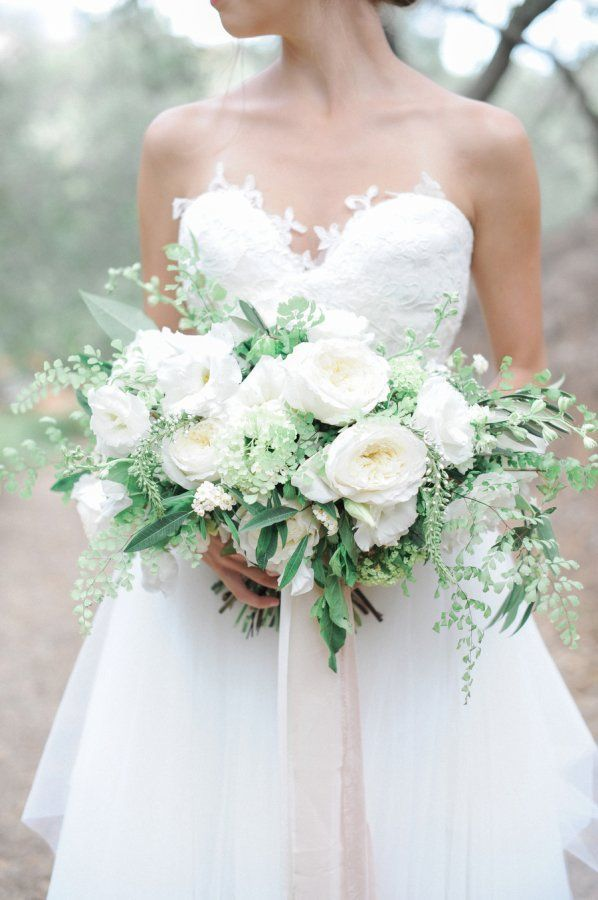 White Garden Rose Bouquet With Greenery