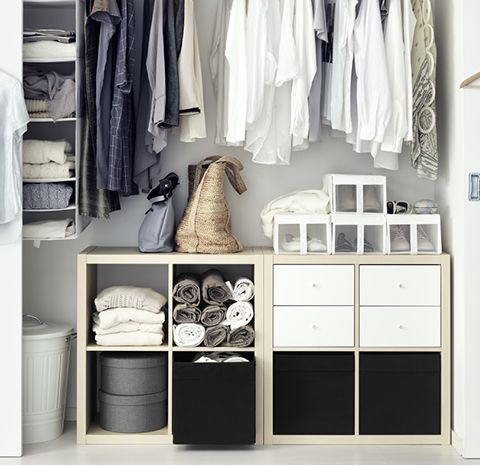 kallax shelving unit in a built in wardrobe home. Black Bedroom Furniture Sets. Home Design Ideas
