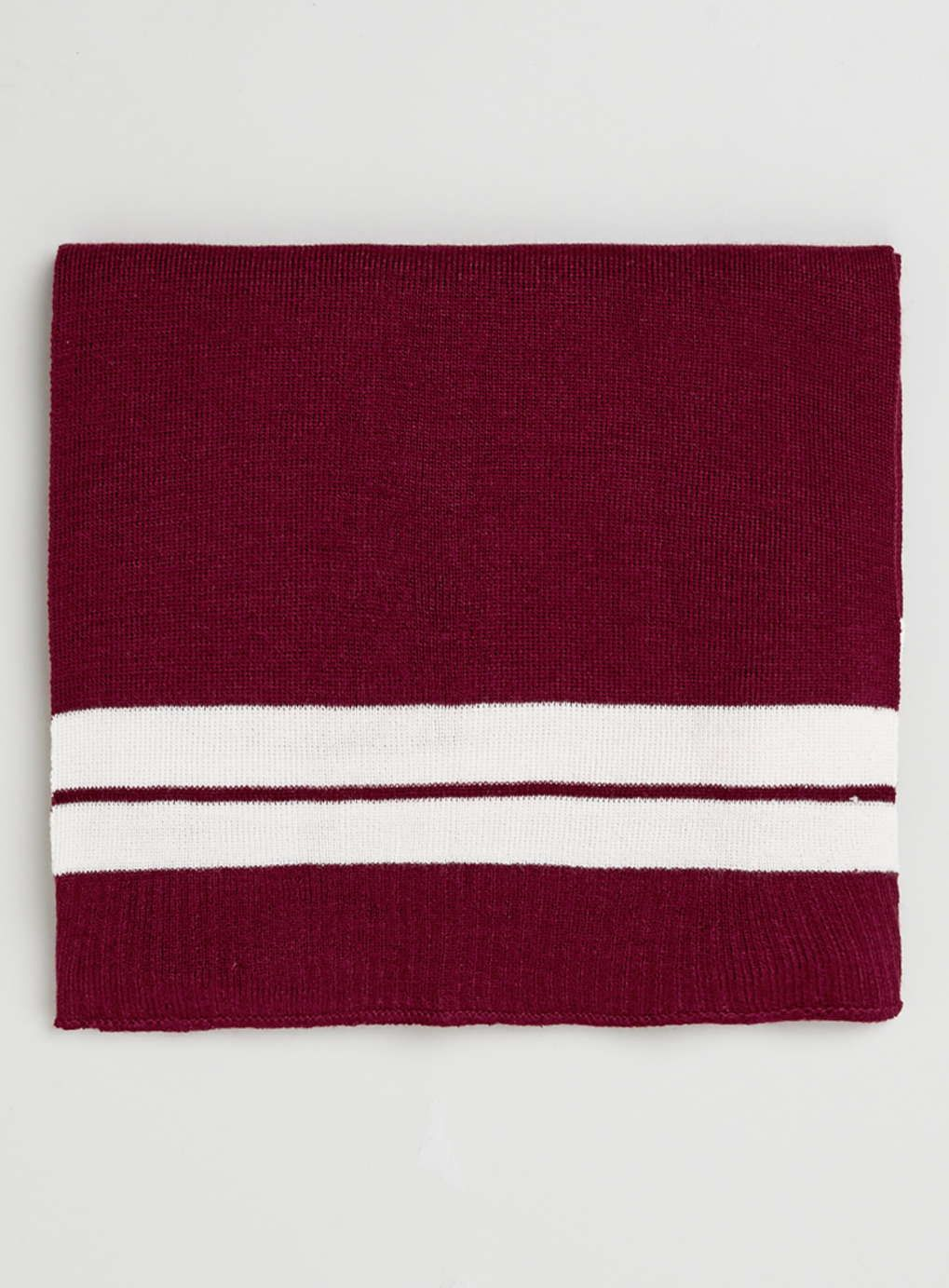 Burgundy and Off White Stripe Scarf