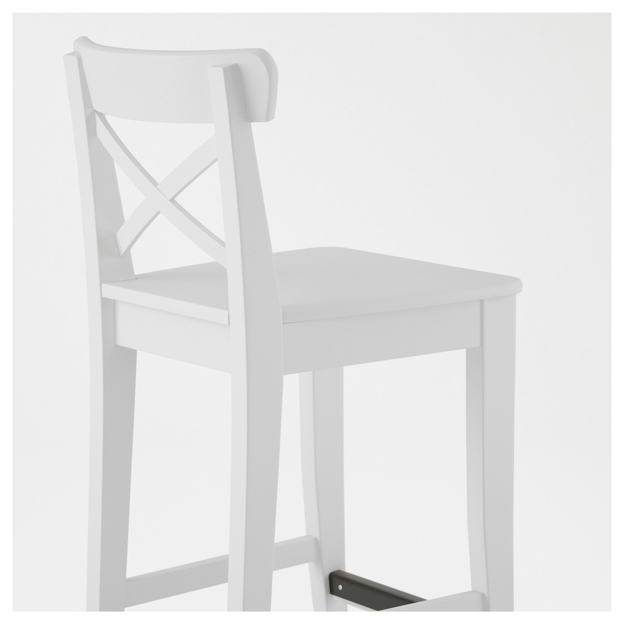 Ikea Ingolf Bar Stool With Backrest White In 2019
