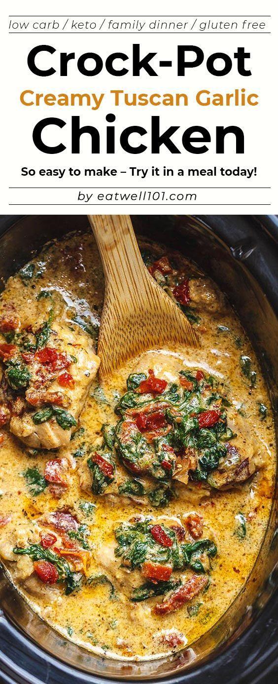 Crock-Pot Tuscan Garlic Chicken Recipe - Succulent Crock-Pot chicken cooked in Spinach, garlic, sun