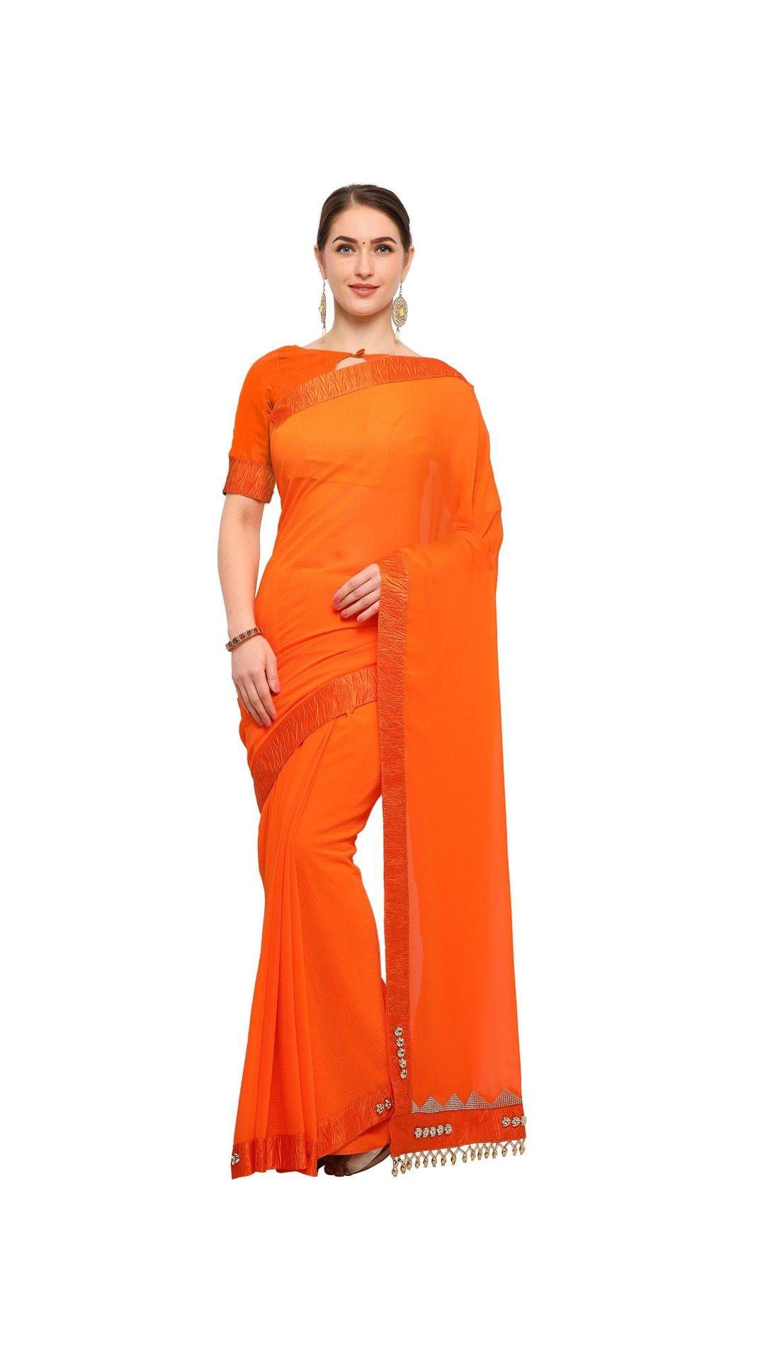 c40e0a05a Paytmmall.com - Buy Uniqkart Orange Color Embellished Plain Saree online at  best prices in India on Paytmmall.com