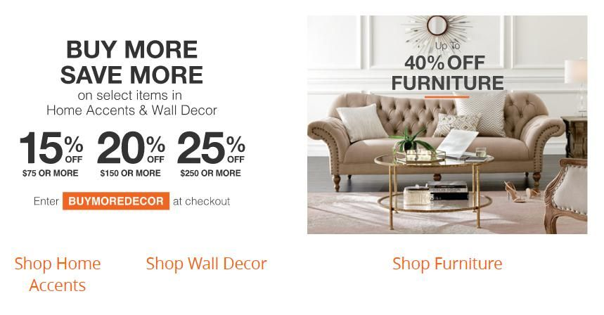 Up To 25 Off Wall Decor With Minimum Spend The Wall Decor Buy More Get More Sale Spend 75 Get 15 Spend 15 Home Depot Coupons Decor Buy Shop Wall Decor
