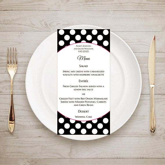 Black Wedding Menu Template Polka Dots Printable Menu Card
