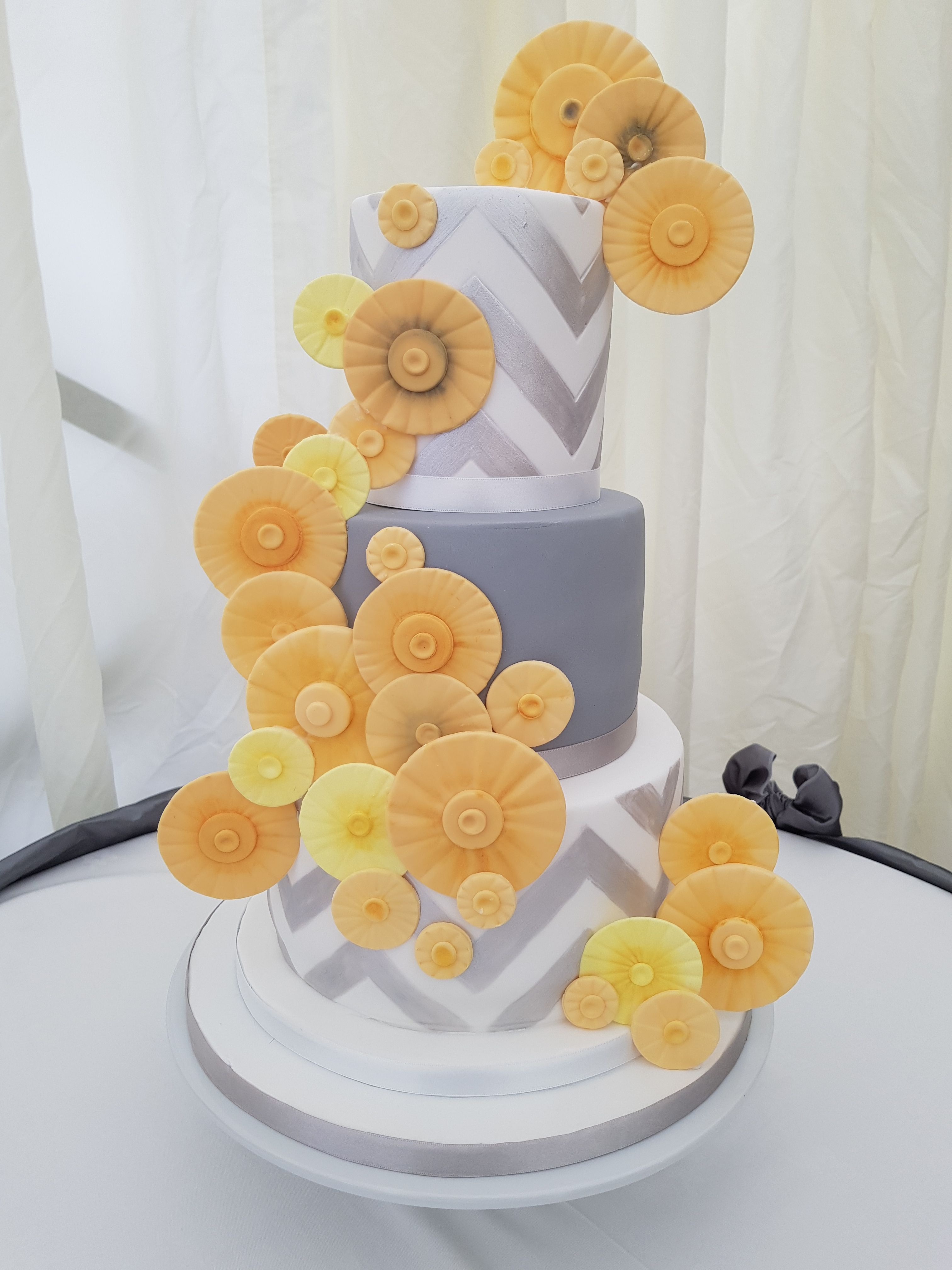 Grey And Yellow Modern Flower Wedding Cake Cake Pinterest