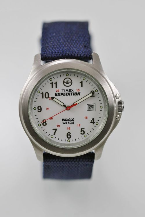 Timex Watch Mens Silver Stainless Blue Nylon 24h Light Date 50m White Quartz 79e68819c7