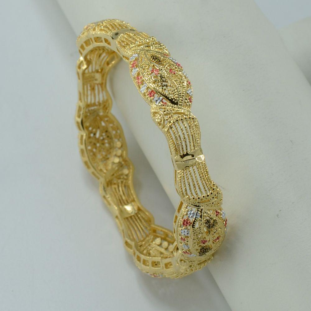 Très 6 CM/Arabe Bracelet Femmes 18 K Plaqué Or Bijoux En Gros Éthiopien  MB83
