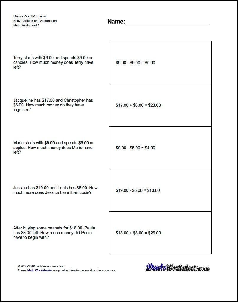 worksheet Money Subtraction addition worksheet and subtraction money word problems subtraction