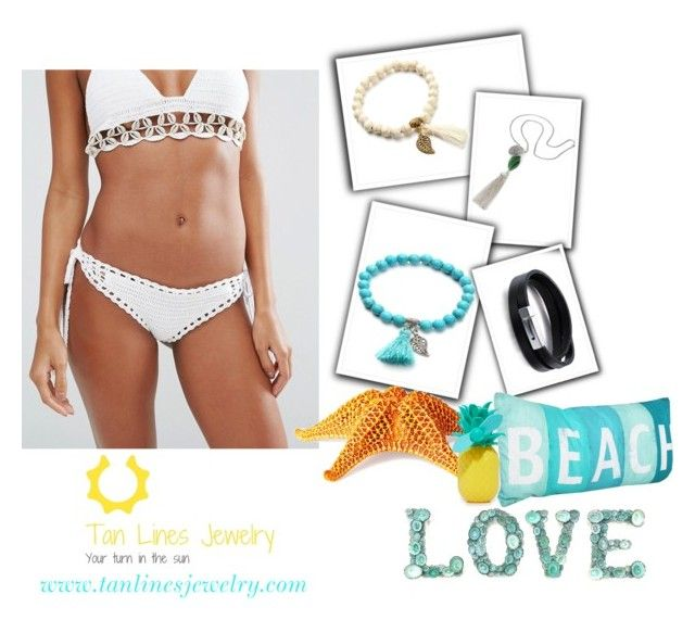 """Love Of Beach, @tanlinesjewelry"" by freida-adams ❤ liked on Polyvore featuring South Beach, Philmore and Sunnylife"