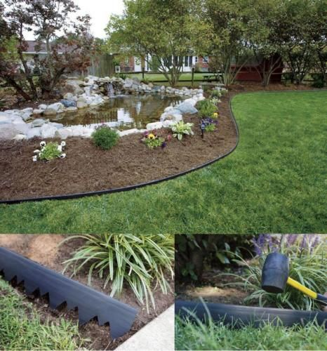 Quickly And Easily Install Plastic Landscape Edging With An Innovative Serrated Pound In Design Landscape Edging Plastic Landscape Edging Diy Garden Projects