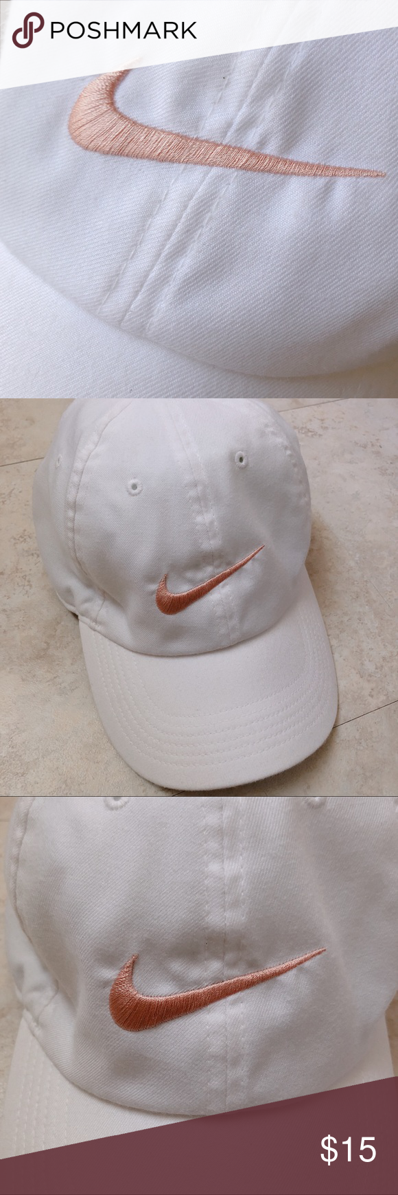 Nike Women s White   Rose Gold Pink Copper Dad Hat Adjustable back. No  stains etc. Worn once and felt that white wasn t my color for hats. ed013054a28